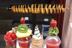 trdelnik (donut cones), spiral potato, fruit cups