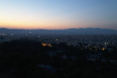view of Athens after sunset